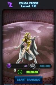 Note how it costs SHIELD points, silver, and time to train Emma, but it does not take energy.